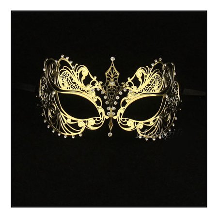 Gold Laser Cut Metal Masquerade Mask with Clear Crystals - Masquerade Mask On A Stick