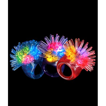 Fun Central (I542) 24 pcs Assorted Colors LED Jelly Porcupine Rings, Led Light Up Rings, Flashing LED Jelly Rings for $<!---->