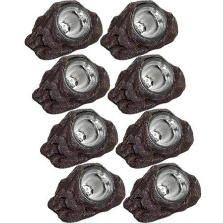 Greenlighting Dark Brown Solar LED Garden Landscape Rock Spotlight Lights (8 Pk) by