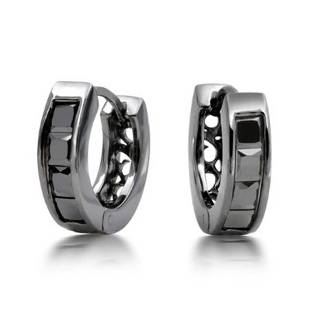 Black On Black Square Cubic Zirconia Princess Cut CZ Small Huggie Hoop Kpop Earrings For Men For Women Sterling Silver - image 5 de 5