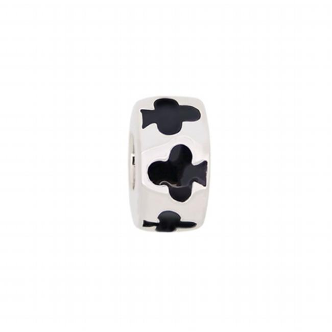 151155 Clubs Bead in Sterling Silver with Enamel.  Weight- 3. 30g