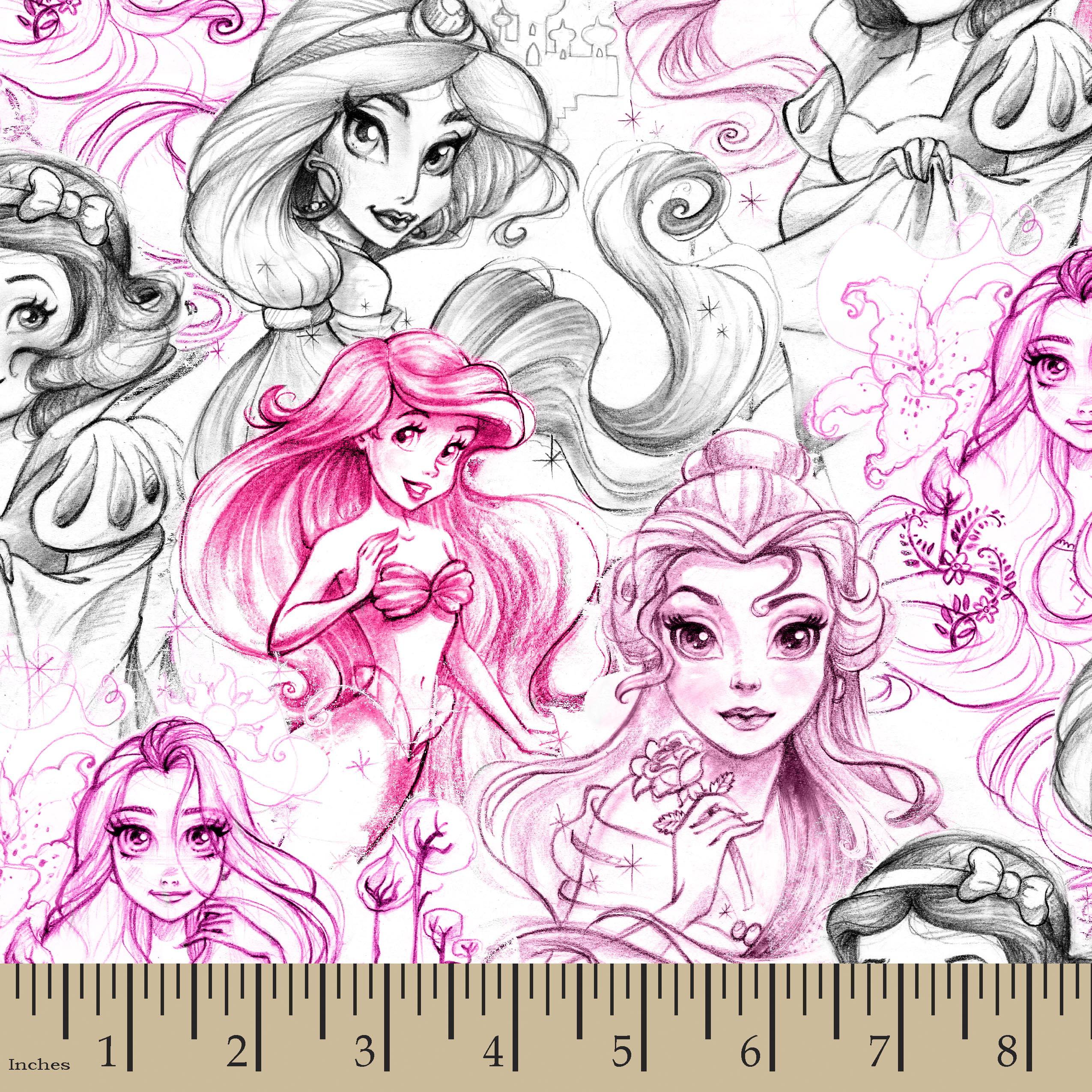 Disney Princess Enchanting Stories Sketch Cotton Fabric by the yard