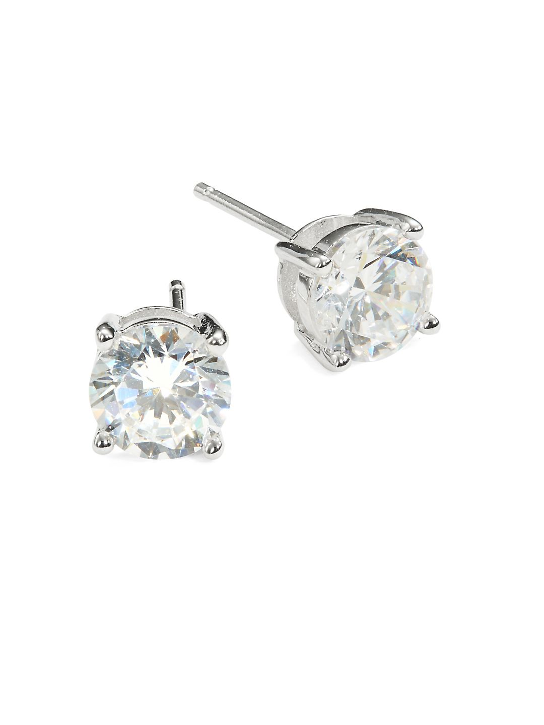 Solitaire Brilliant Sterling Silver Earrings