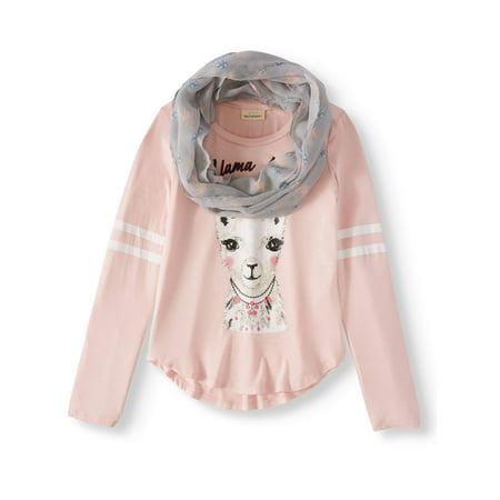Big Girls' Llama Reversible Flip Sequin Varsity Long Sleeve Tee With - Kids Varsity