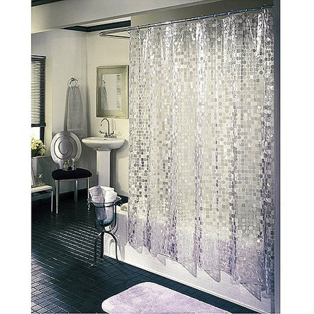 Excell Disco Vinyl Shower Curtain, Silver