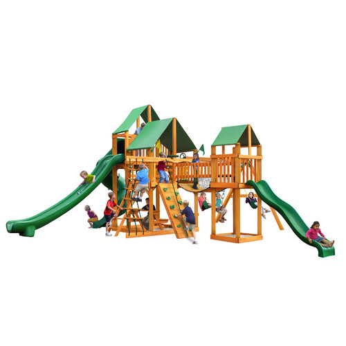 Gorilla Playsets Treasure Trove II Swing Set with Amber Posts and Deluxe Green Vinyl Canopy by Gorilla Playsets