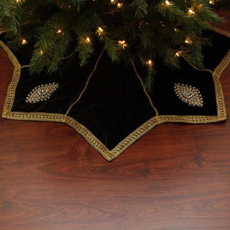 54 Elegant Gold Trimmed Black Velveteen Jeweled Christmas Tree Skirt