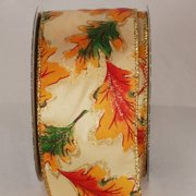 """Fall Acorn Leaves Orange and Brown Wired Craft Ribbon 2.5"""" x 40 Yards"""