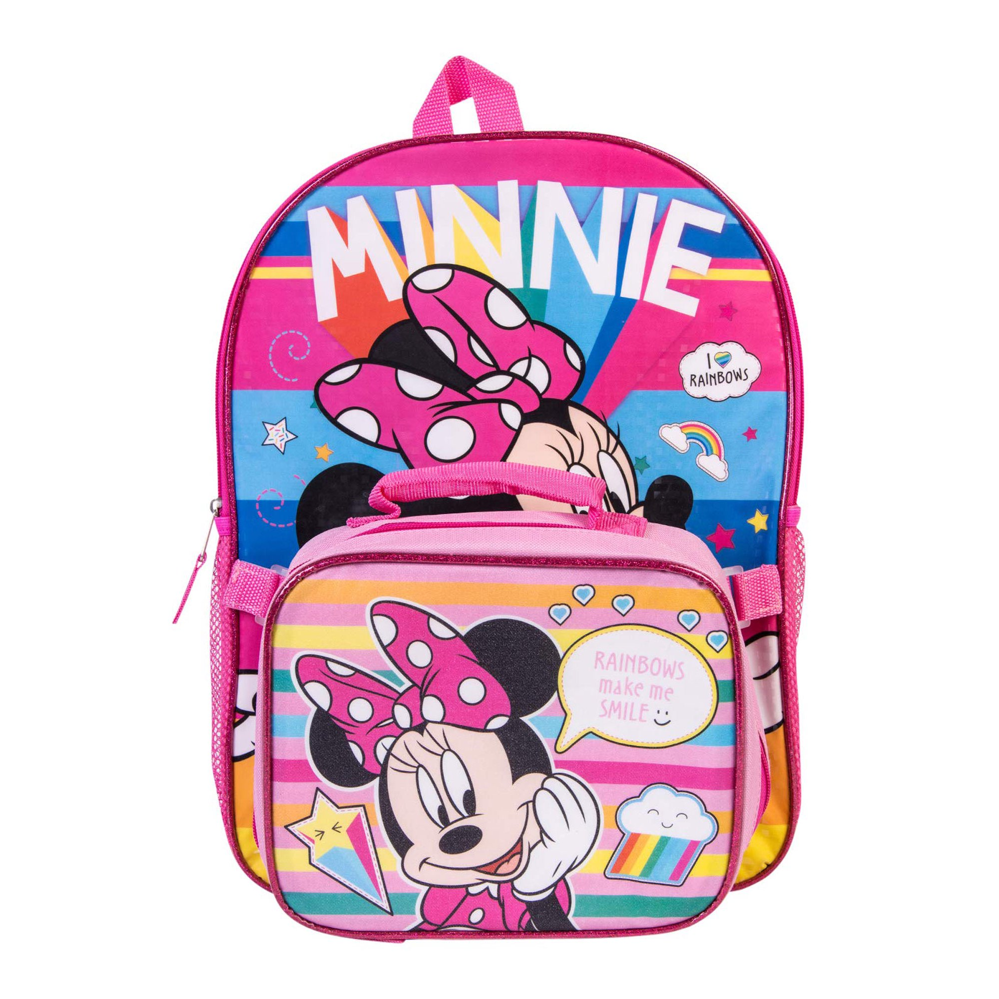 52ddbda75932 Girls Minnie Mouse Rainbows Backpack 16