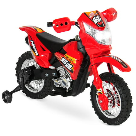 - Best Choice Products 6V Kids Electric Battery-Powered Ride-On Motorcycle Dirt Bike Toy w/ 2mph Max Speed, Training Wheels, Lights, Music, Charger - Red