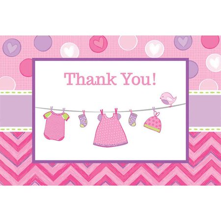 Baby Shower Girl Shower With Love Thank You Notes  Pack Of 8