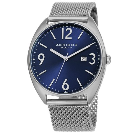 Akribos Xxiv Mens Automatic Watch - Akribos XXIV  Men's Date Silver-Tone Stainless Steel Mesh Strap Watch