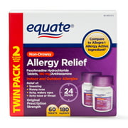 Equate Allergy Relief Fexofenadine Tablets 180mg, 60 Ct