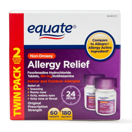 Equate Allergy Relief Fexofenadine Tablets, 180 mg, 60 tablets