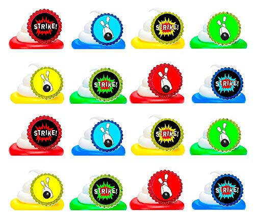 Bowling Easy Toppers Cupcake Decoration Rings -24pk (Bowling Cupcakes)