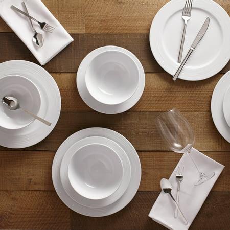 Safdie & Co. 12-Piece Round Rim Wave Dinnerware Set, White, Embossed