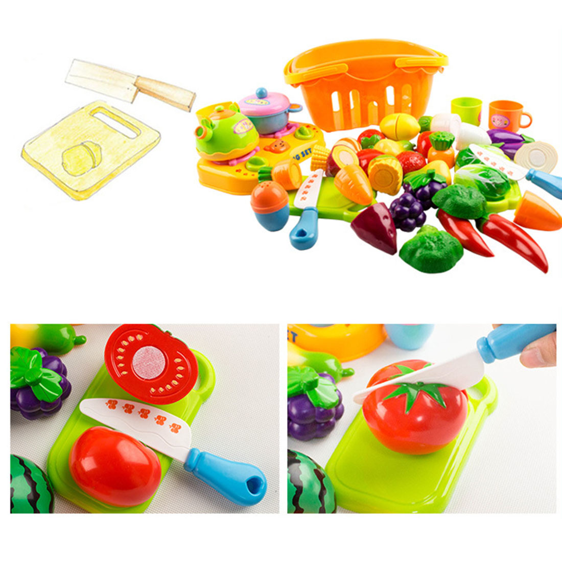 Plastic Fruit Vegetable Kitchen Cutting Toy Set of 14Pcs Prentend Kitchen Cooking Play Toys- Color Random