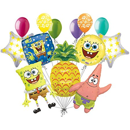 13pc Spongebob Patrick Pineapple Balloon Bouquet Party Happy Birthday Sponge Bob - Patrick Balloon