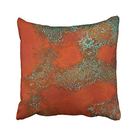 WinHome Vintage Fashion Copper And Green Textured Look Print Polyester 18 x 18 Inch Square Throw Pillow Covers With Hidden Zipper Home Sofa Cushion Decorative Pillowcases ()