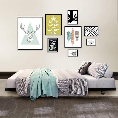 Daybed with Trundle Platform Metal Bed 4 Locking Casters Slats -