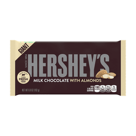(3 Pack) Hershey's, Giant Milk Chocolate with Almonds Candy Bar, 6.8 Oz