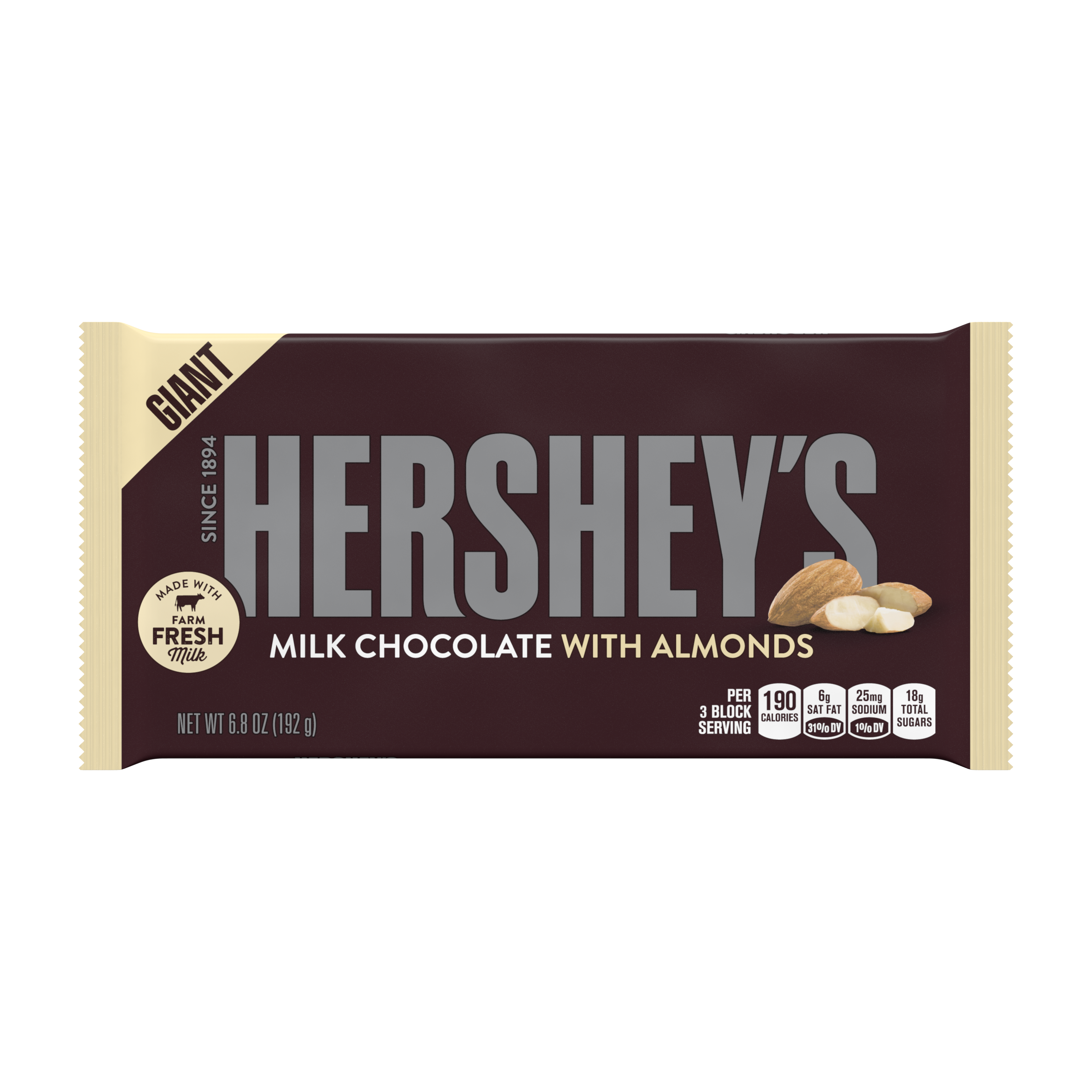 Hershey's, Milk Chocolate with Almonds Candy Giant Bar, 6.8 Oz