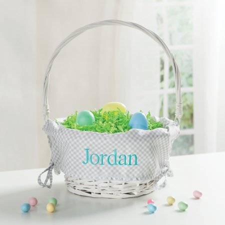 Personalized Wicker Easter Basket – Grey Liner