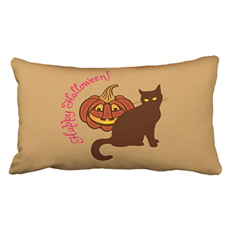 WinHome Cool Funny Black Cat Pumpkin Celebrates Happy Halloween Polyester 20 x 30 Inch Rectangle Throw Pillow Covers With Hidden Zipper Home Sofa Cushion Decorative Pillowcases - Cats Celebrating Halloween