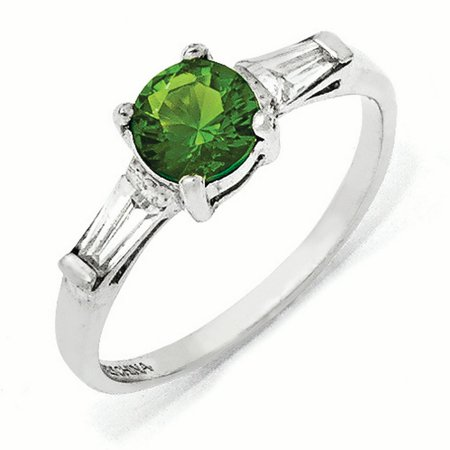 Sterling Silver Glass Simulated Emerald & CZ Ring Size 6
