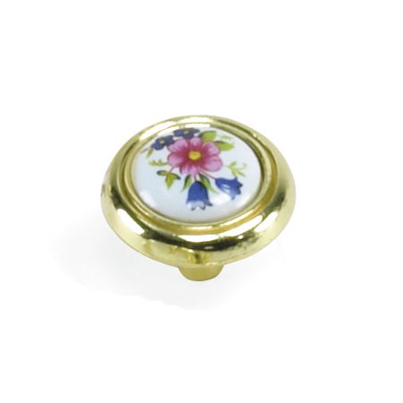 "Laurey 1 1/4"" Knob Flowers/ White Polished Brass, #15431"