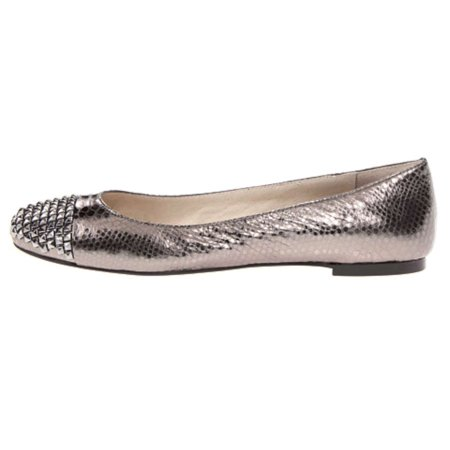 Cap Toe Leather Flats (Michael Kors Womens Aria Ballet Leather Cap Toe Slide)