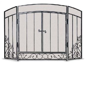 Napa Forge 3 Panel Renaissance Screen with Doors-Brushed ...