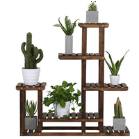 6-Layer Wooden Flower Stand Plant Display Stand Shelf Indoors & Outdoors