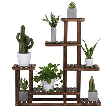 SmileMart 6-Shelf Wooden Flower Stand Plant Display