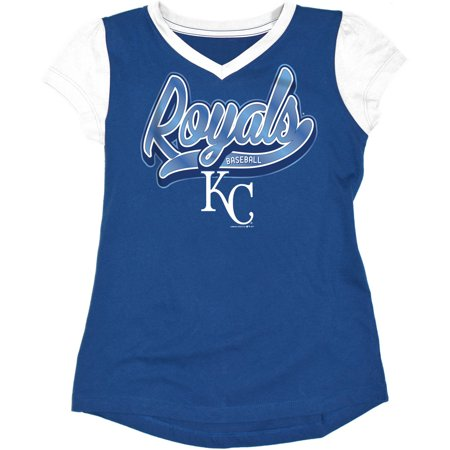 MLB Kansas City Royals Girls Short Sleeve Team Color Graphic Tee - Party City League City