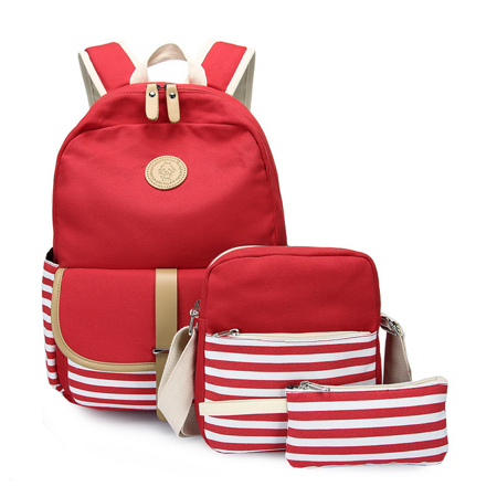 Canvas Bookbags School Backpack Classic Schoolbag for Teens Girls Set 3 Pcs With Bonus Gift