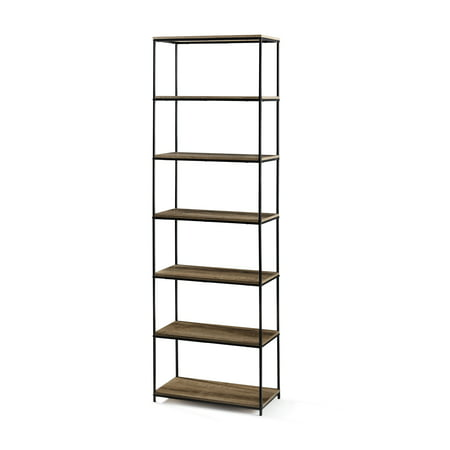 "Mainstays 71"" 6-Shelf Metal Frame Bookcase, Rustic Brown"