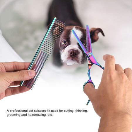 LHCER Pet Grooming Scissors Kit Dog Cat Hairdressing Shears Set Cutting Thinning Haircut Tools,Pet Scissors, Pet Grooming Scissors - image 5 of 7