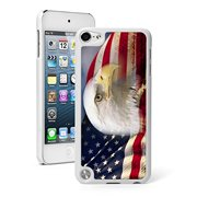 For Apple iPod Touch 5th / 6th Generation Hard Back Case Cover American Bald Eagle Flag (White)