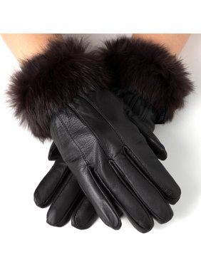 Womens Dressy Gloves Genuine Leather Thermal Lining Rabbit Fur Cuff