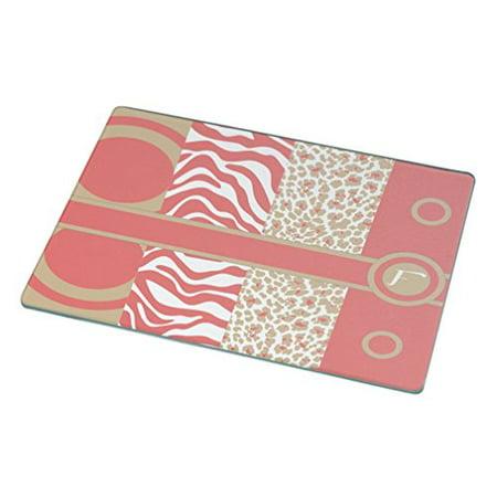 Rikki Knight F Initial Coral - Sand Leopard Zebra Large Glass Cutting Board
