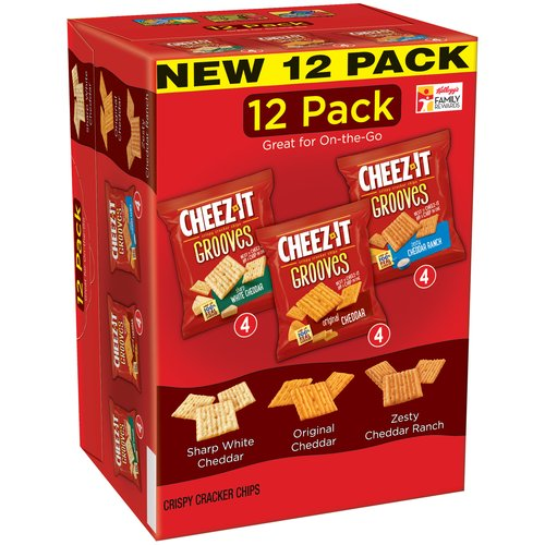 Cheez-It Grooves Crispy Cracker Chips Variety Pack, 1 oz, 12 count