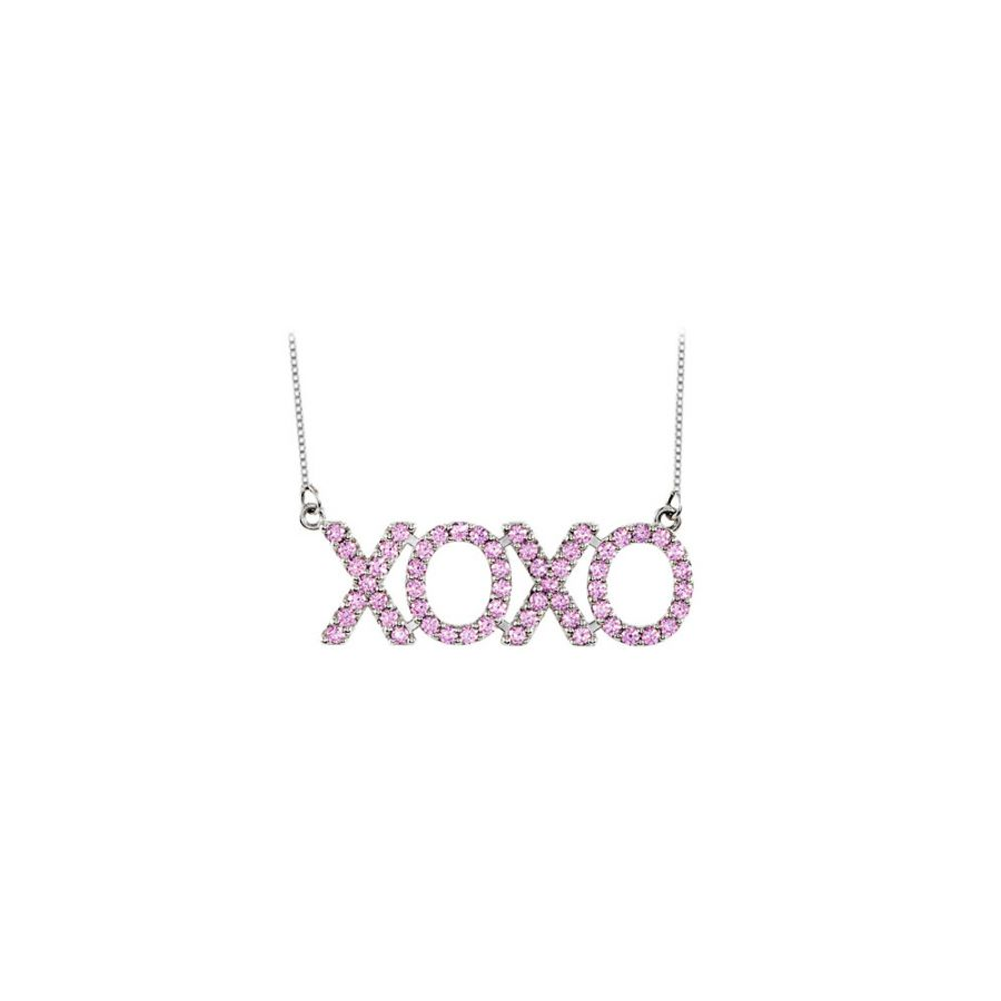LoveBrightJewelry 14K White Gold Created Pink Sapphire XOXO Necklace with 1 CT Total Gem Weight by Love Bright