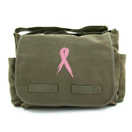 Cancer Awareness Vintage Heavyweight Canvas Messenger Bag Painted Pink