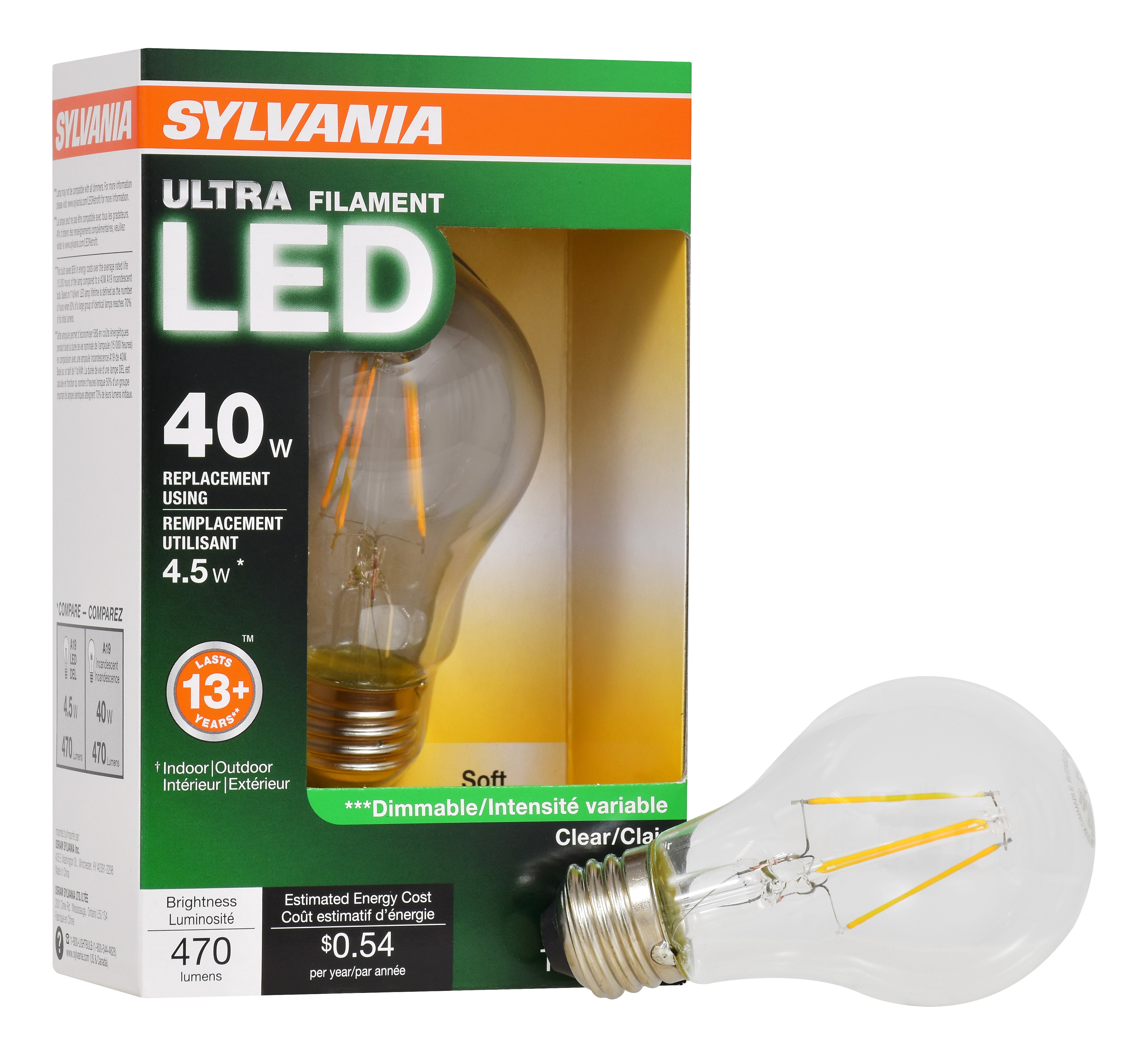 Sylvania Vintage LED Light Bulb, 4.5W (40W Equivalent), Soft White, 1-count
