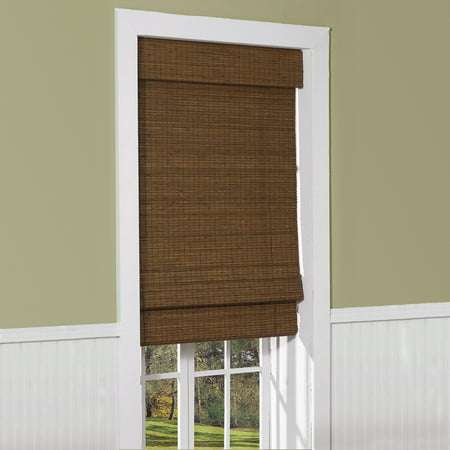 Cape Cod Cordless Flatweave Bamboo Roman Shade with Valance, Maple