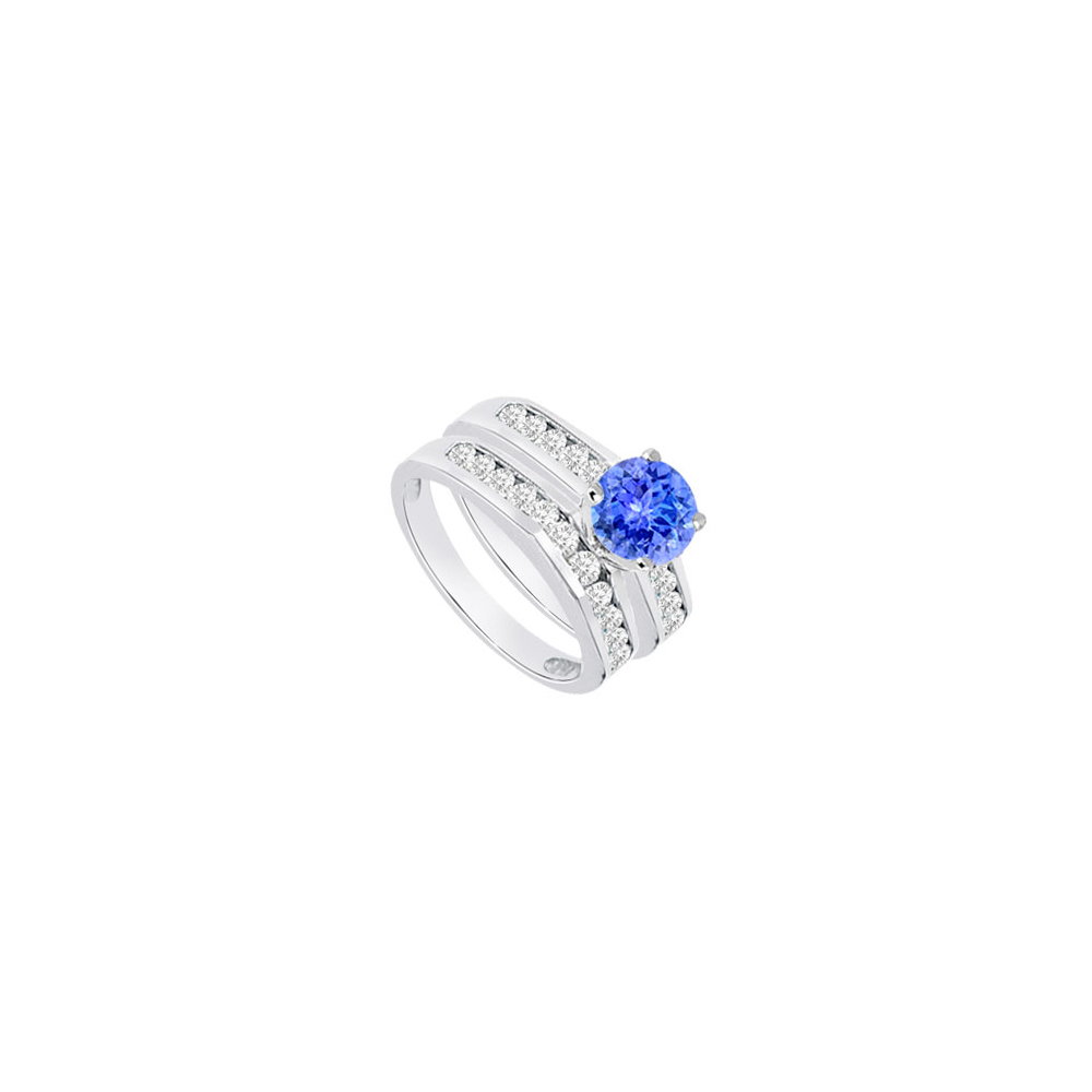 Created Tanzanite Cubic Zirconia Engagement Ring with Wedding Band Sets 14K White Gold 1.15 CT by Love Bright
