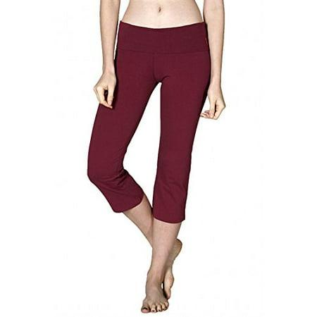 Sassy Apparel Women's Active Flare Bottom Fold Over Waist Band Capri Leggings (Small, Burgundy)