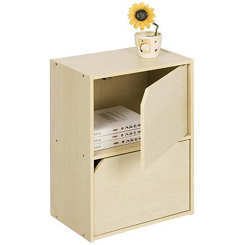 Furinno 11205SBE Pasir 2-Tier Bookcase with Door without Handle, Steam Beech