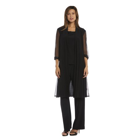 Women's Three Piece Duster Pant Suit With Sequins and